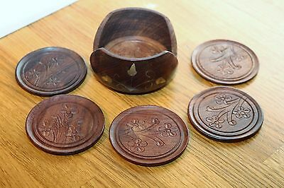 Hand Carved Wood Round Coaster Set - 6 Coasters in Holder....
