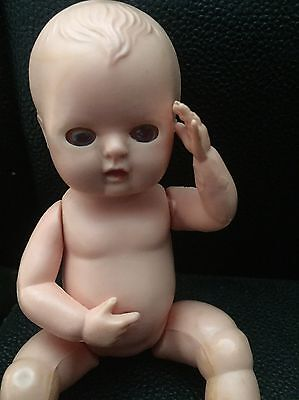 Vintage Old Hard Plastic Rosebud Suck-A-Thumb Doll 6 Inches Tall