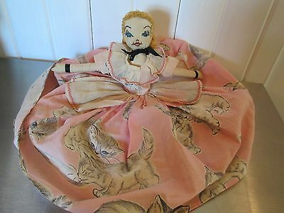 Vintage Hand Made Cloth Lady Doll Kittens Fabric Pink Rickrack Ptd Face Yarn