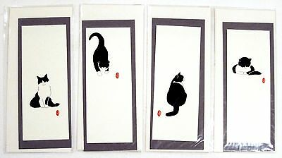 4 Cat Themed Cards - Handmade by Yoko Ueno - New Unopened