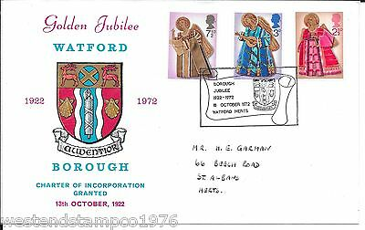Gb 1972 Fdc Watford Officail Illustrated. 18.10.1972 Golden Jubilee