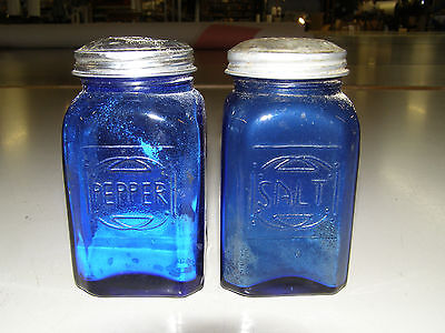 Cobalt Blue Antique large salt and pepper shakers. See air bubbles in glass.