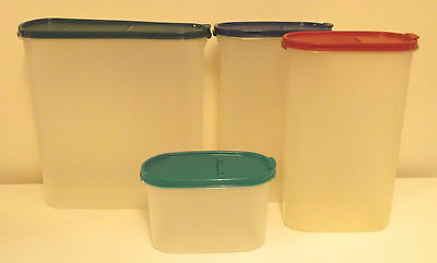 4 x Vintage Tupperware Spacesavers Store & Pour Cereal Flour Storage Containers