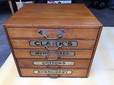 clarks wood cabinet drawer thread Chest Spool Cotton Store Display Library