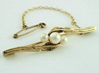 Beautiful Vintage 9ct Yellow Gold Brooch Pin Set with Pearls