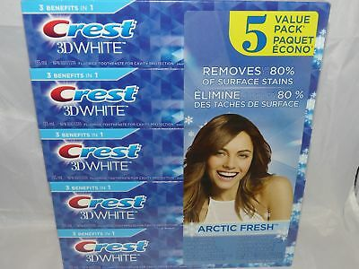 5x120ml=1kg, Crest 3D White Toothpaste, Large size Made in Canada