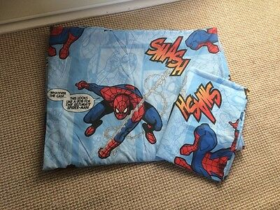 boys Spiderman single duvet and pillowcase, blue, used once