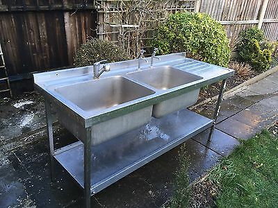 Stainless Steel Double Kitchen Sink with Taps