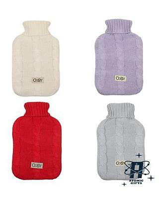 Retro Vintage Style Cosy Knitted Wool Hot Water Bottle Cover And Bottle