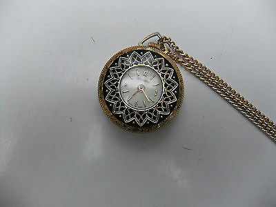 Lucerne Hand Winding Gold Tone Fob Watch With Chain