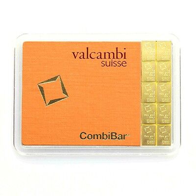 2 X 10 Gram Solid Gold Valcambi Combibar, Brand New