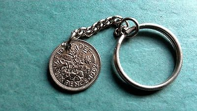 Queen Elizabeth II 1962 sixpence coin  keyring