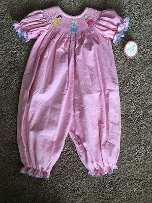 NWT Princess Smocked Long Bubble. Pink Size 18 Months