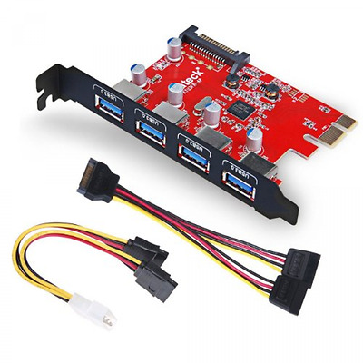 Inateck Superspeed 4 Ports PCI-E To USB 3.0 Expansion Card Interface USB 3.0 New