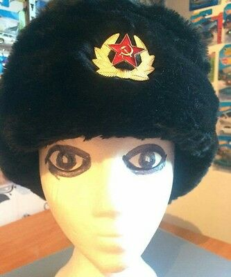 Russian fur hat hammer and sickle badge