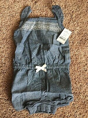 NWT Carter's Embroidered Denim Romper Toddler Girl Size 24 Months