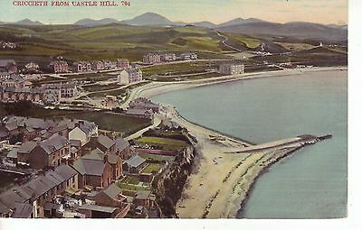 Vintage Postcard. CRICCIETH from CASTLE HILL. 1900s Views over Town & Seafront,