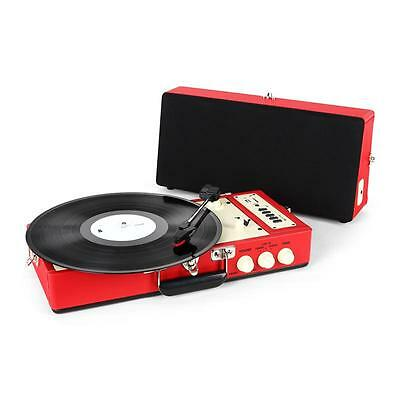Ricatech Rt98 Retro Vintage Record Player Red Turntable Usb Sd Recording Aux
