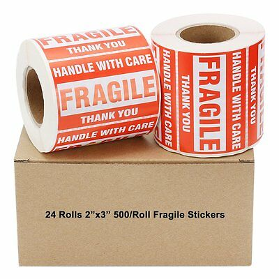 24 Rolls 500/Roll 2x3 Fragile Stickers Handle with Care Thank You Shipping Label
