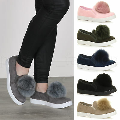 Womens Ladies Flat Slip On Pom Pom Casual Trainers Pumps Loafers Shoes Size