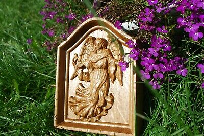 Guardian angel Wooden Carved Religious gift First communion gift birthday gift