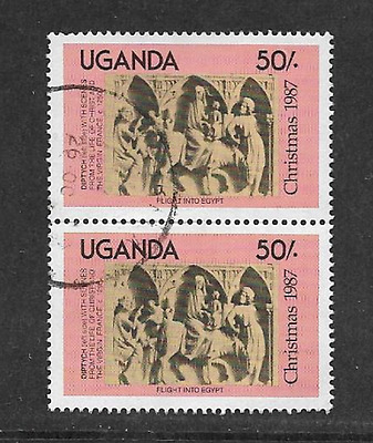 UGANDA USED PAIR OF STAMPS - 1987 - 2 x 50/- CHRISTMAS COMMEMORATIVE ISSUE