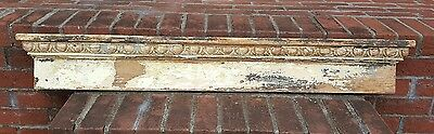 "FABULOUS OLD ARCHITECTURAL HEADER Chippy White Paint 50"" Long Victorian"