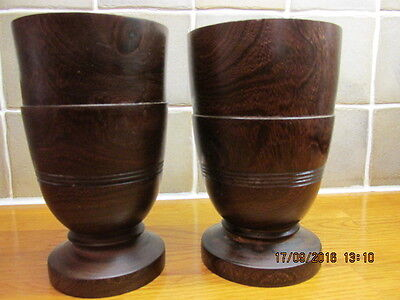 African Dark Wood Craft Cup Set - Used For Display Purpose Only -