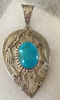 Navajo Edith James Sterling Silver Turquoise Animal Pendant Turtle Dragonfly ++