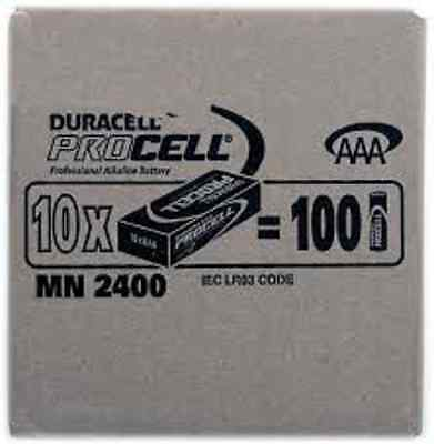 100 x Industrial Duracell Procell AAA batteries NEW GENUINE STOCK  exp 2020