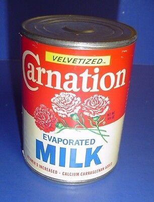Vintage Velvetized Carnation  Evaporated Milk Can Tin  Store Prop Empty