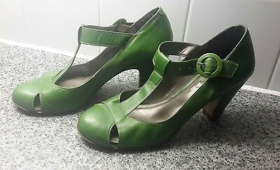 Next Ladies Real Leather Green High Heel Shoes Size 6 UK/ 39 EUR