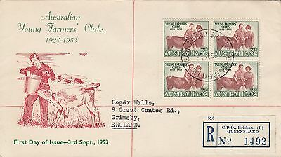 K 2146 Queensland Stamp Mart Young Farmers Club 1953 registered cover UK