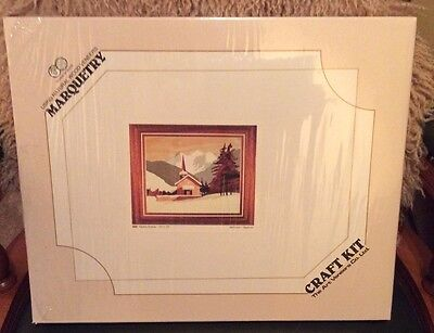 Wooden marquetry craft kit depicting Alpine scene