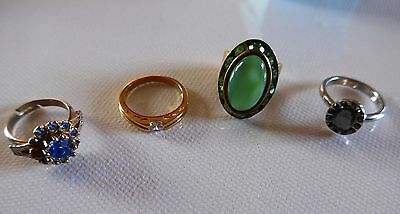 Lovely Small collection 4 vintage modern Cocktail Dress costume Rings inc M&S