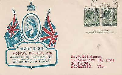 K 502 Haslem June 1950 imprint pair First Day Cover