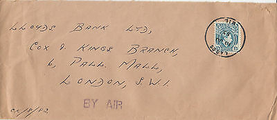 L 1030 Nigeria 1953 airmail cover to Uk; 1/3d solo stamp for rate OHMS(ish)