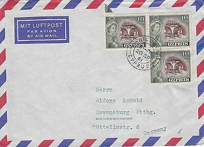 L 1071 Cyprus 1961 cover to germany; 30 M rate; 3 x 10 m overprinted stamps