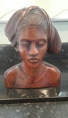 African Hardwood Carved Head Of A Woman