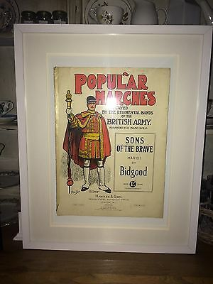 RARE Sheet Music: Popular Marches -Sons of the Brave Hawkes & Son 1899 - Framed