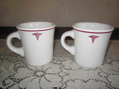 Vintage Buffalo China Cups Medical Emblem Nice Heavy Cups Great Collectors Item
