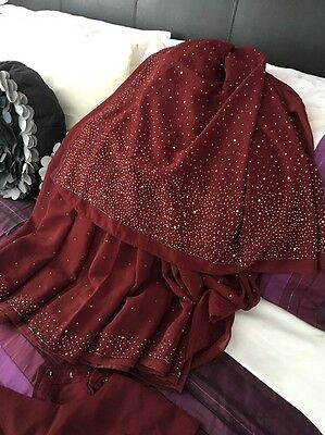 Indian/Bollywood Saree (maroon) With Beads & sequins With Blouse Ready Made