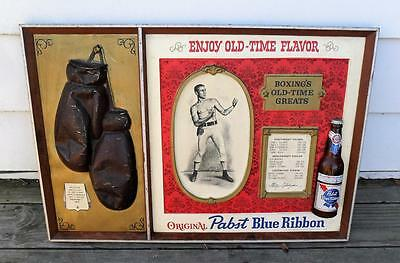 "Pabst Blue Ribbon Boxing's Old-Time Greats 3D beer sign Huge 30""x20"" VTG 1960th"