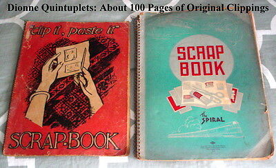 Dionne Quintuplets, 2 Scrapbooks, Old Newspaper Clippings, 1930s, 100 Pages+