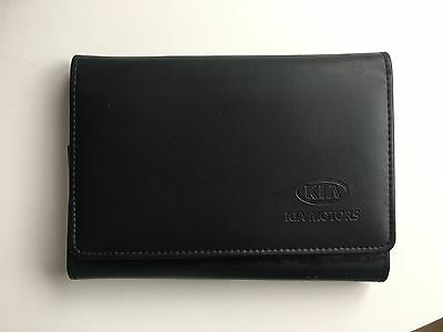 Genuine Kia Owners Manual Document Holder Folder Leather Wallet Black