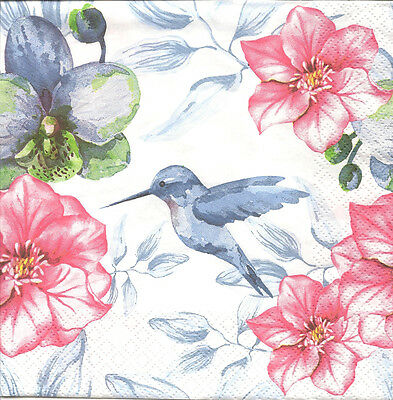 4 Single Paper Napkins for Decoupage Humming-bird