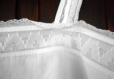 Vintage white cotton full petticoat with lace trim and straps Early 20th century