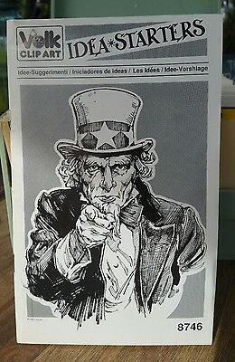 Henry Volk Clip art Booklet #8746 1987 IDEA STARTERS Vtg Uncle Sam Glossy