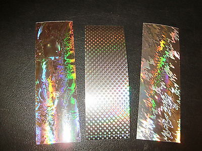 """2"""" x 6"""" 3 PACK SUPER HOLOGRAPHIC SILVER Fishing Lure Tapes in 3 Patterns"""