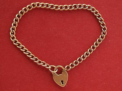 "9ct Yellow Gold Curb Child's Bracelet 5"" Heart Padlock"